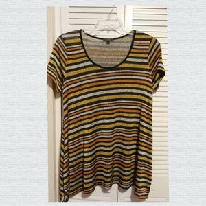 De Portfolio Striped Gold Orange Knit Top Size 2X